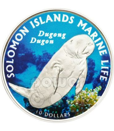 DUGONG DUGON Marine Life Silver Coin 10$ Solomon Islands 2011
