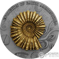 AMMONOIDEA Ammonite Evolution of Earth 2 Oz Moneta Argento 2$ Niue 2018