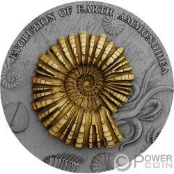 AMMONOIDEA Ammonite Evolution of Earth 2 Oz Серебро Монета 2$ Ниуэ 2018
