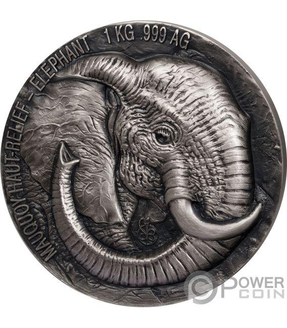 ELEPHANT Big Five 1 Kg Kilo Silver Coin 10000 Francs Ivory Coast 2018