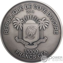 ELEPHANT Elefante Big Five 1 Kg Kilo Moneda Plata 10000 Francos Ivory Coast 2018