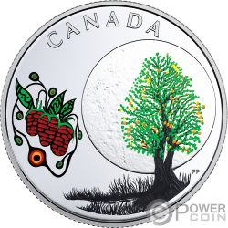 STRAWBERRY MOON Teachings From Grandmother Silver Coin 3$ Canada 2018