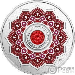JULY Birthstone Swarovski Crystal Silver Coin 5$ Canada 2018