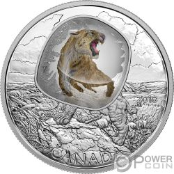 SCIMITAR SABRETOOTH CAT Säbelzahnkatzen Frozen In Ice 1 Oz Silber Münze 20$ Canada 2018