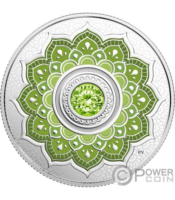 August Birthstone Swarovski Crystal Silver Coin 5 Canada