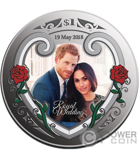 ROYAL WEDDING Harry Meghan 1 Oz Серебро Монета 1$ Новая Зеландия  2018