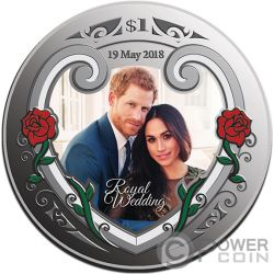 ROYAL WEDDING Matrimonio Reale Harry Meghan 1 Oz Moneta Argento 1$ New Zealand 2018