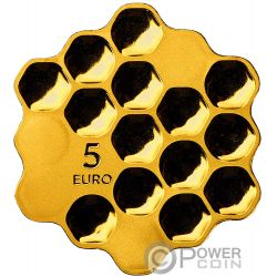 HONEY Honeycomb Cells Shape Silver Coin 5€ Euro Latvia 2018