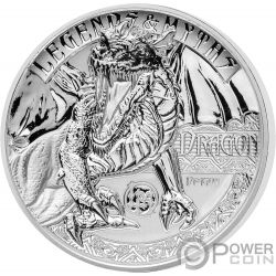 DRAGON Second Legends And Myths 2 Oz Moneda Plata 5$ Solomon Islands 2018