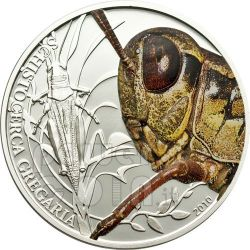 GRASSHOPPER World Of Insects Silver Coin 2$ Palau 2010