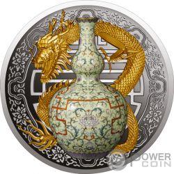 QIANLONG VASE World Most Expensive Porzellan Silber Münze 1$ Niue 2018
