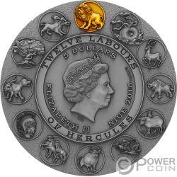 NEMEAN LION Twelve Labours of Hercules 2 Oz Серебро Монета 5$ Ниуэ 2018