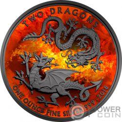 BURNING TWO DRAGONS Dos Dragones 1 Oz Moneda Plata 2£ United Kingdom 2018