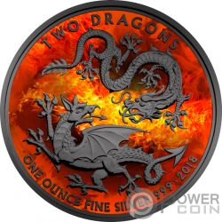 BURNING TWO DRAGONS Zwei Drachen 1 Oz Silber Münze 2£ United Kingdom 2018