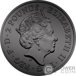 BURNING TWO DRAGONS Due Draghi 1 Oz Moneta Argento 2£ United Kingdom 2018