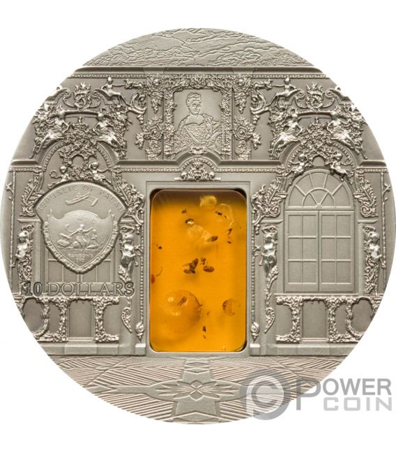 AMBER CHAMBER Zimmer Saint Petersburg Mineral Art 2 Oz Silber Münze 10$ Palau 2009