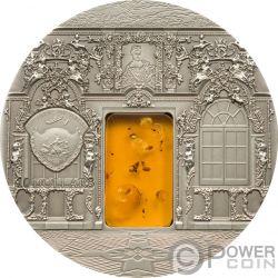 AMBER CHAMBER Stanza Saint Petersburg Mineral Art 2 Oz Moneta Argento 10$ Palau 2009