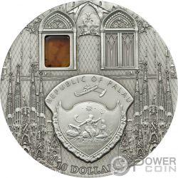 SAGRADA FAMILIA Mineral Art Amber 2 Oz Silver Coin 10$ Palau 2010
