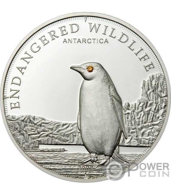 PENGUIN Pinguino Polar Endangered Wildlife Swarovski Moneta Argento 5$ Cook Islands 2008