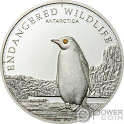 PENGUIN Polar Endangered Wildlife Swarovski Silver Coin 5$ Cook Islands 2008