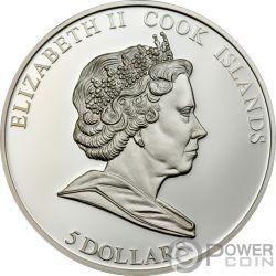 PENGUIN Polar Endangered Wildlife Swarovski Серебро Монета 5$ Острова Кука 2008