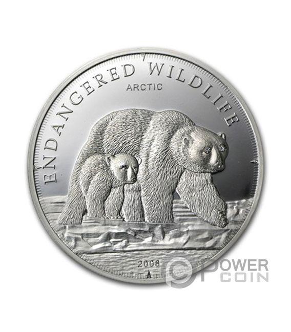 POLAR BEAR Endangered Wildlife Swarovski Silver Coin 5$ Cook Islands 2008