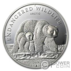 POLAR BEAR Eisbär Endangered Wildlife Swarovski Silber Münze 5$ Cook Islands 2008