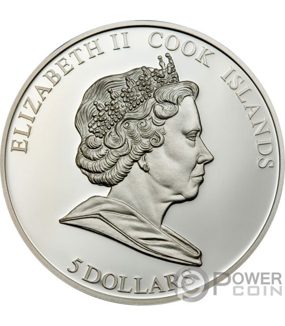 POLAR BEAR Oso Endangered Wildlife Swarovski Moneda Plata 5$ Cook Islands 2008