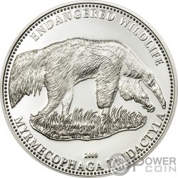 ANTEATER Endangered Wildlife Silver Coin 5$ Cook Islands 2009