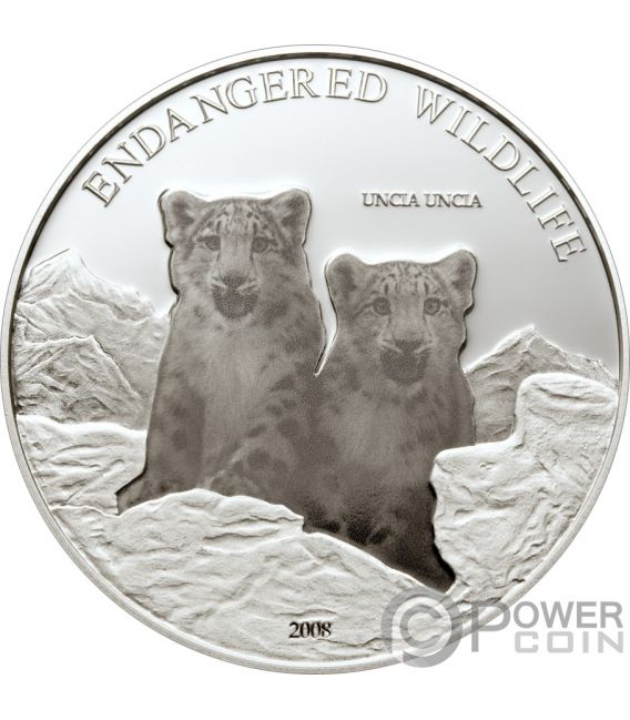 UNCIA UNCIA Leopardo Nieve Endengered Wildlife Moneda Plata 500 Togrog Mongolia 2008