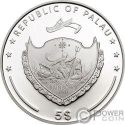 PEACOCK PEAFOWL CMA Pfau Exceptional Animals Silber Münze 5$ Palau 2009