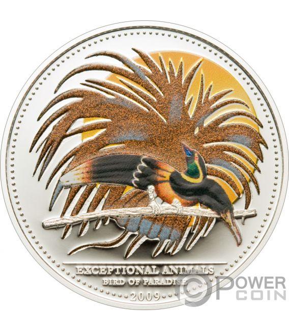 BIRD OF PARADISE CMA Paradiesvogel Exceptional Animals Silber Münze 5$ Palau 2009
