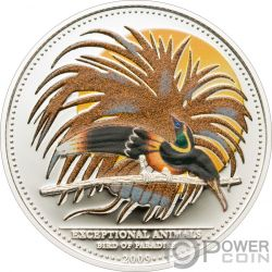 BIRD OF PARADISE CMA Uccello Paradiso Exceptional Animals Moneta Argento 5$ Palau 2009