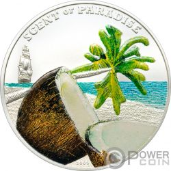 COCONUT Noce Cocco Scent Of Paradise Moneta Argento 5$ Palau 2009