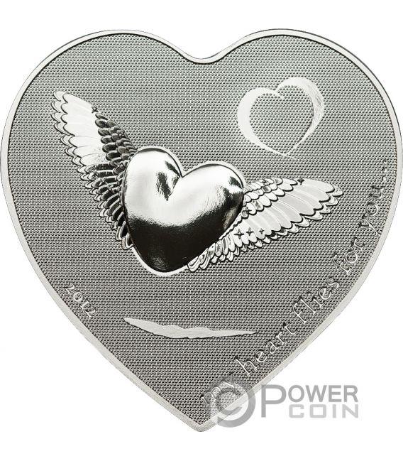 MY HEART FLIES FOR YOU Forma Cuore Moneta Argento 2$ Palau 2012