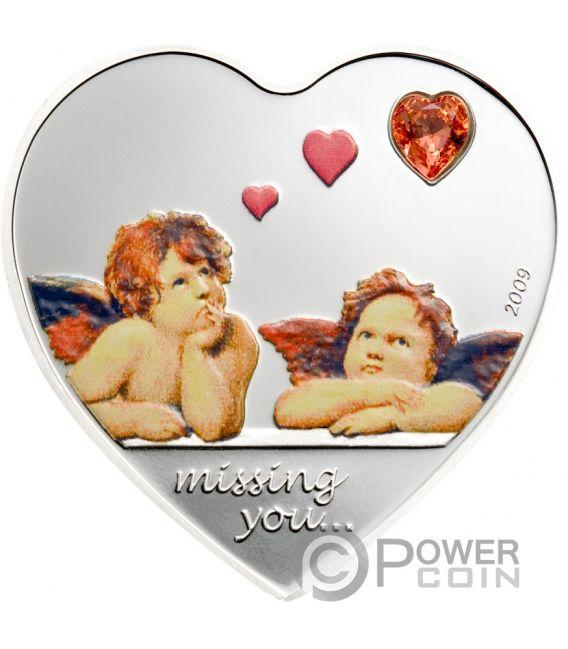 MISSING YOU Heart Shaped Swarovski Серебро Монета 5$ Палау 2009