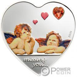 MISSING YOU Heart Shaped Swarovski Moneda Plata 5$ Palau 2009