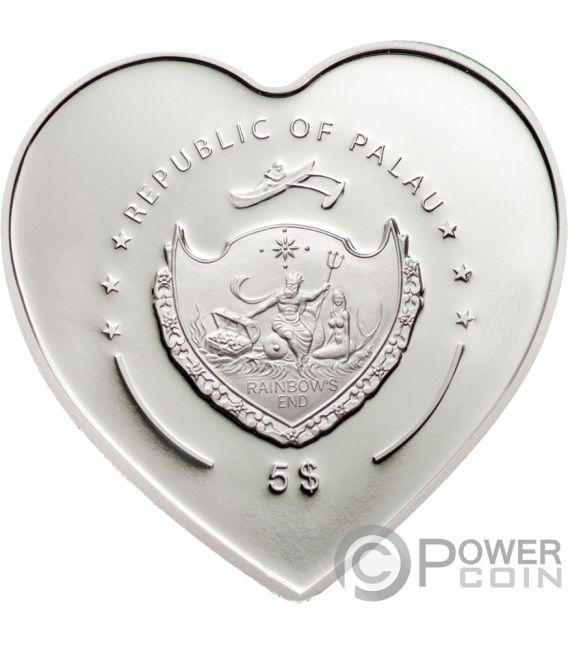 MISSING YOU Heart Shaped Swarovski Silber Münze 5$ Palau 2009