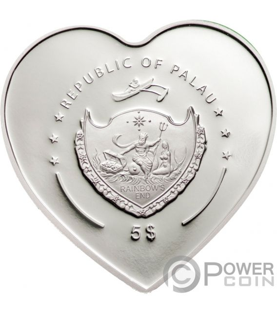 MISSING YOU Heart Shaped Swarovski Silver Coin 5$ Palau 2009