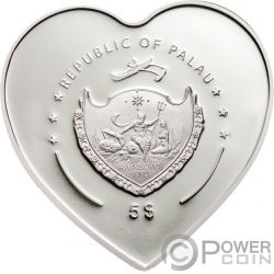 MISSING YOU Heart Shaped Swarovski Moneda Plata 5$ Palau 2009