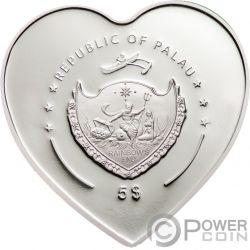 MISSING YOU Heart Shaped Swarovski Moneta Argento 5$ Palau 2009