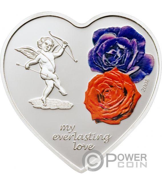 EVERLASTING LOVE Amor Siempre Corazon Heart Shaped Moneda Plata 5$ Cook Islands 2008