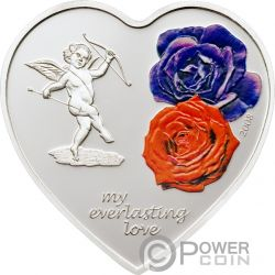 EVERLASTING LOVE Amor Siempre Corazon Heart Shaped Moneda Plata 5$ Cook Islands 2008