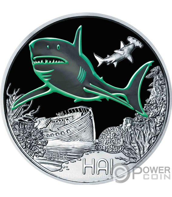 SHARK Hai Colourful Creatures Glow In The Dark Münze 3€ Euro Austria 2018