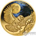 POWERFUL OWL Civetta Reale Australiana Endangered Extinct 1 Oz Moneta Oro 100$ Niue 2018