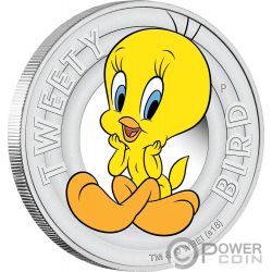 TWEETY BIRD Titti Looney Tunes Moneta Argento 50 Centesimi Tuvalu 2018