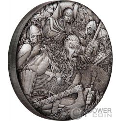 VIKINGS Warfare 2 Oz Silver Coin 2$ Tuvalu 2018