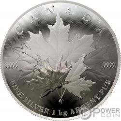 MAPLE LEAF Dome Convex Shape 1 Kg Kilo Silver Coin 250$ Canada 2018