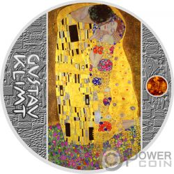 KISS Beso Gustav Klimt Golden Five Moneda Plata 1$ Niue 2018