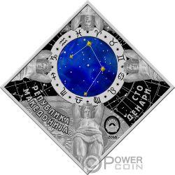 LIBRA Bilancia Zodiac Signs Moneta Argento 100 Denars Macedonia 2018